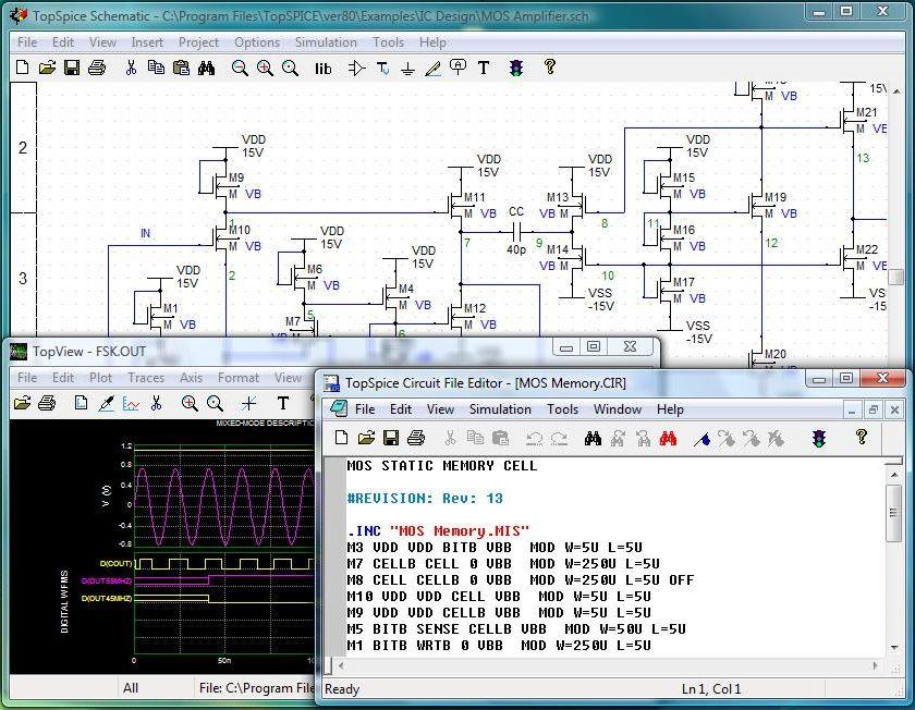 Full TopSpice screenshot